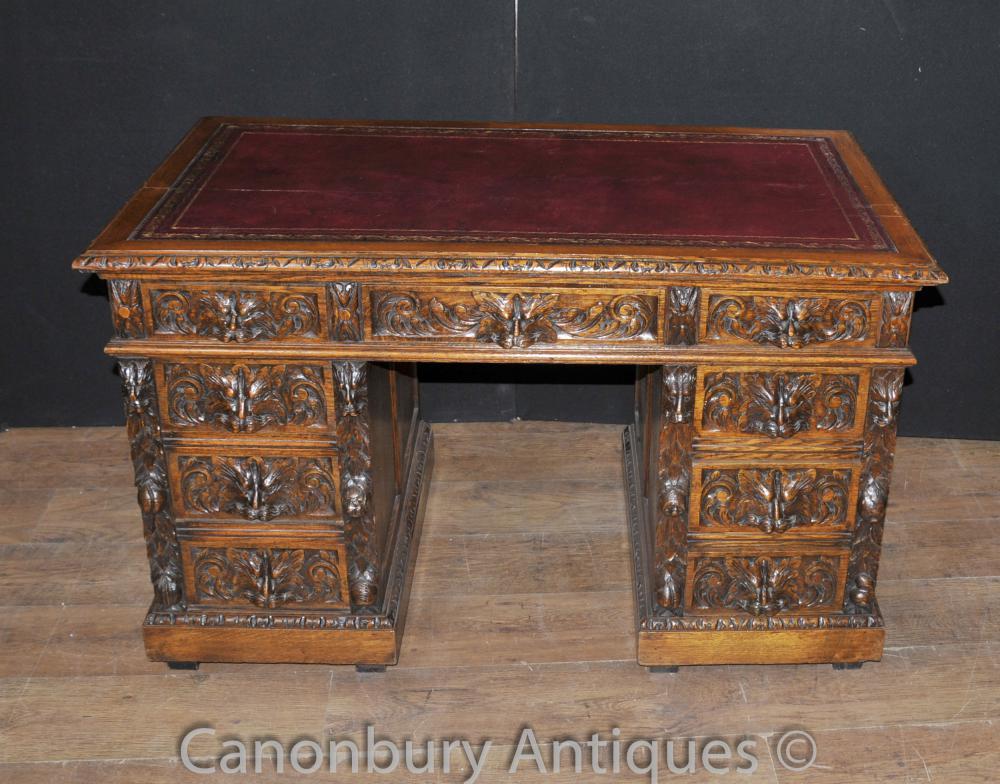 Hand geschnitzte Englisch Antike Eiche Knie Loch Schreibtisch 1880 Schreibtische