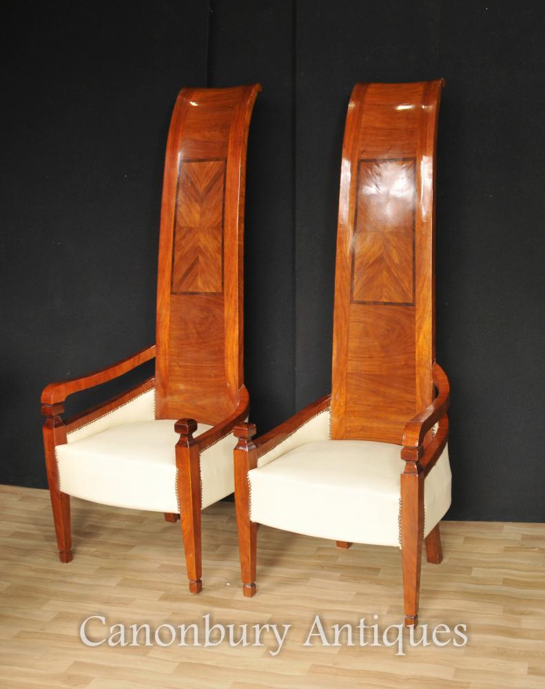Paar Art Deco Hoch Zurück Sessel Modernist Interiors Stuhl
