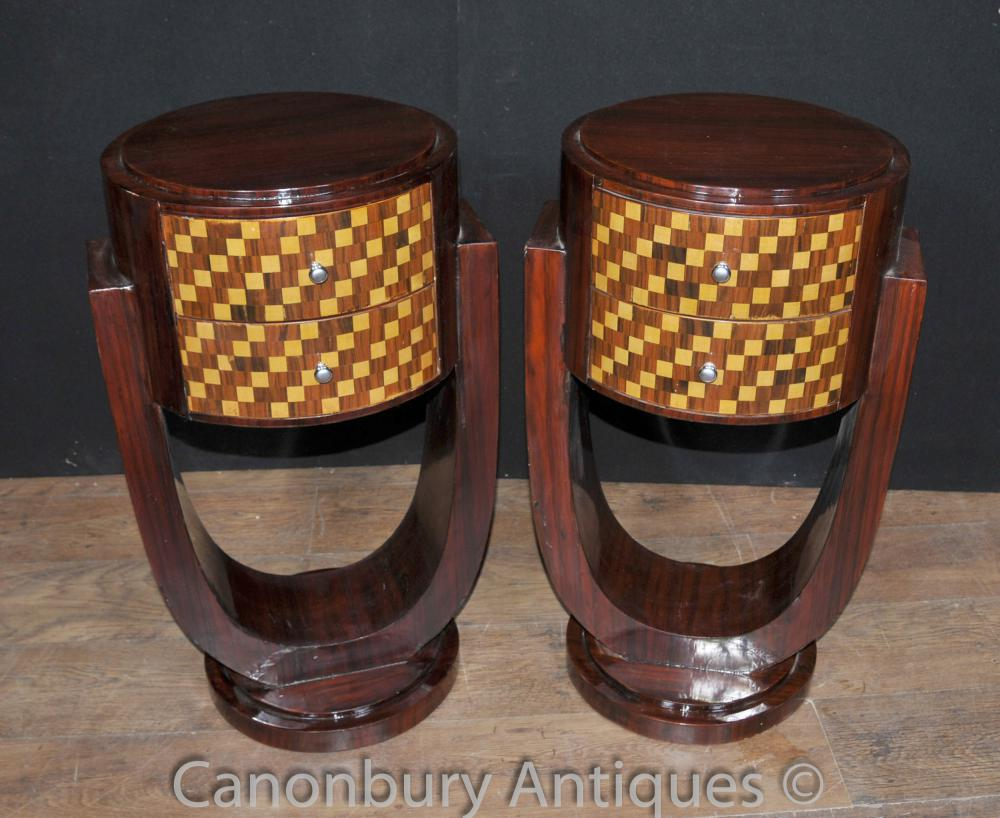 Paar Art Deco Nachttische Kommoden Nacht Inlay Kabinett