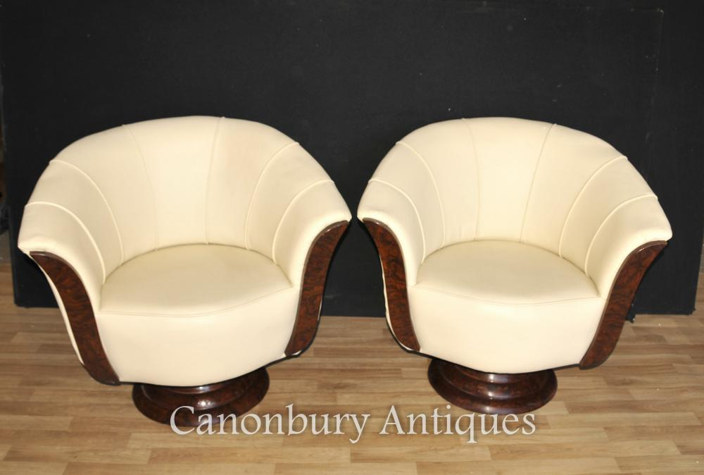 Paar Art Deco Swivel Stuhl Club Sessel Möbel