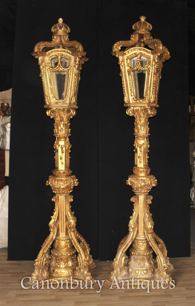 Paar XL Italienisch Vergoldetes Holz Lampen Architekturbeleuchtung Laterne
