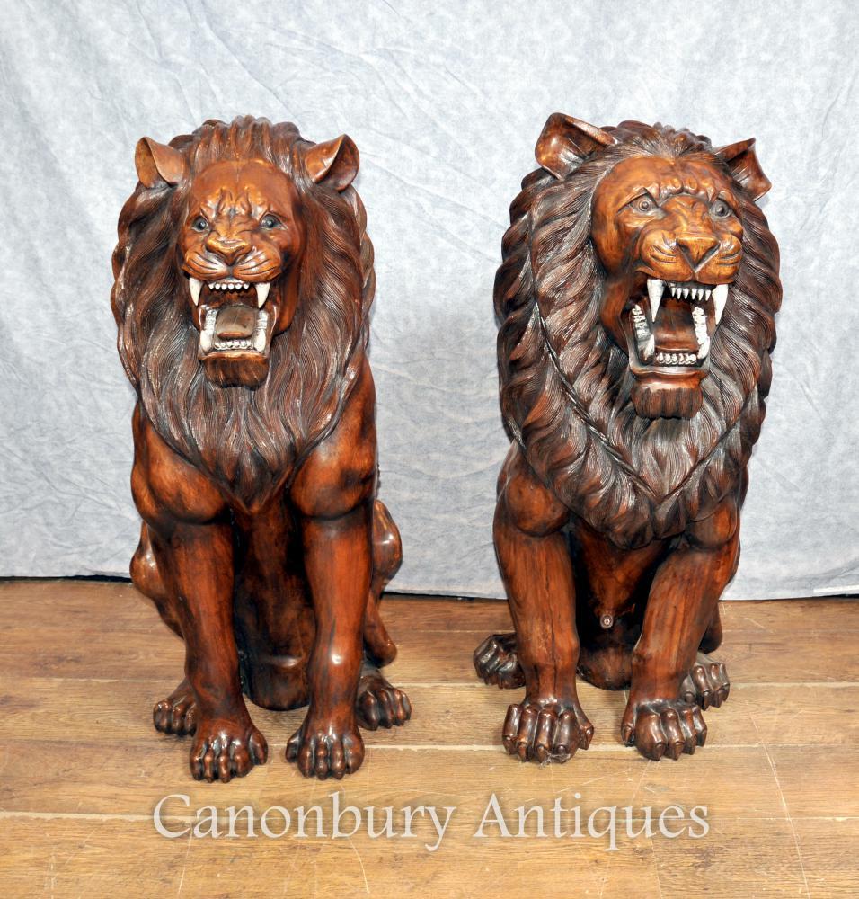 Paar lebensgroße Hand geschnitzte Holz African Lion Torwächter Statuen Landseer