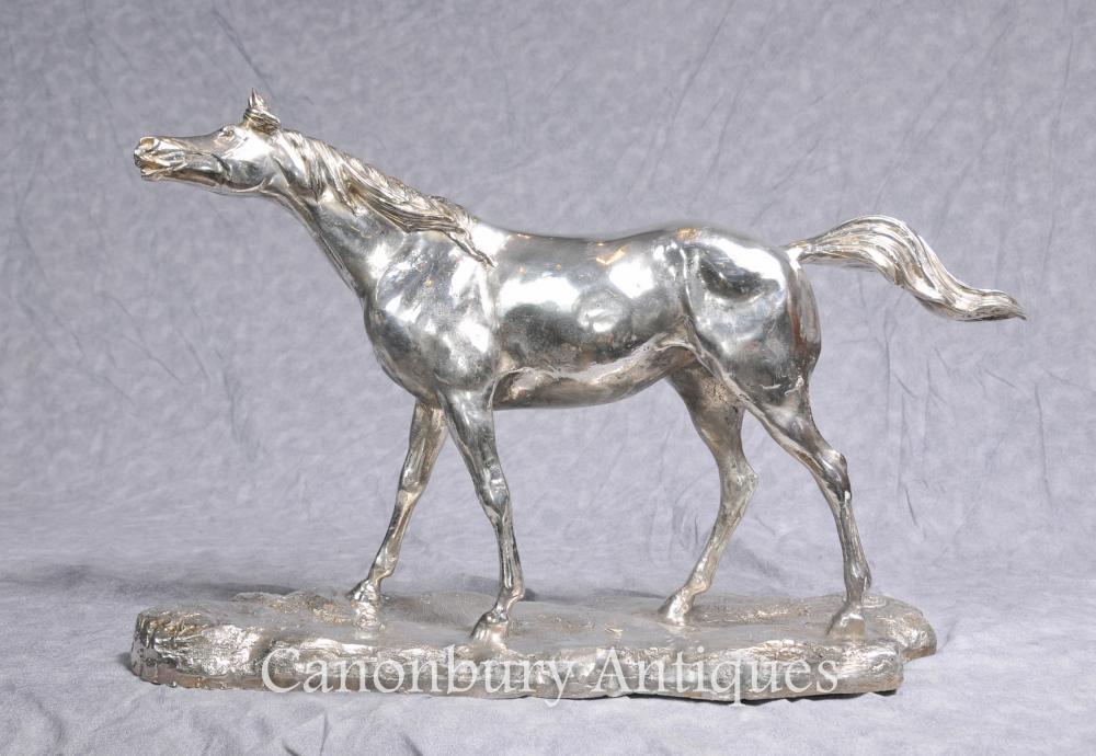 Silber überzogene Bronzepferd von PJ Mene Französisch Skulptur Statue