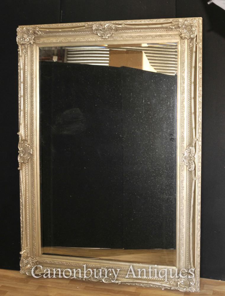 XL Französisch Reich vergoldetes Silber Spiegelglas Spiegel