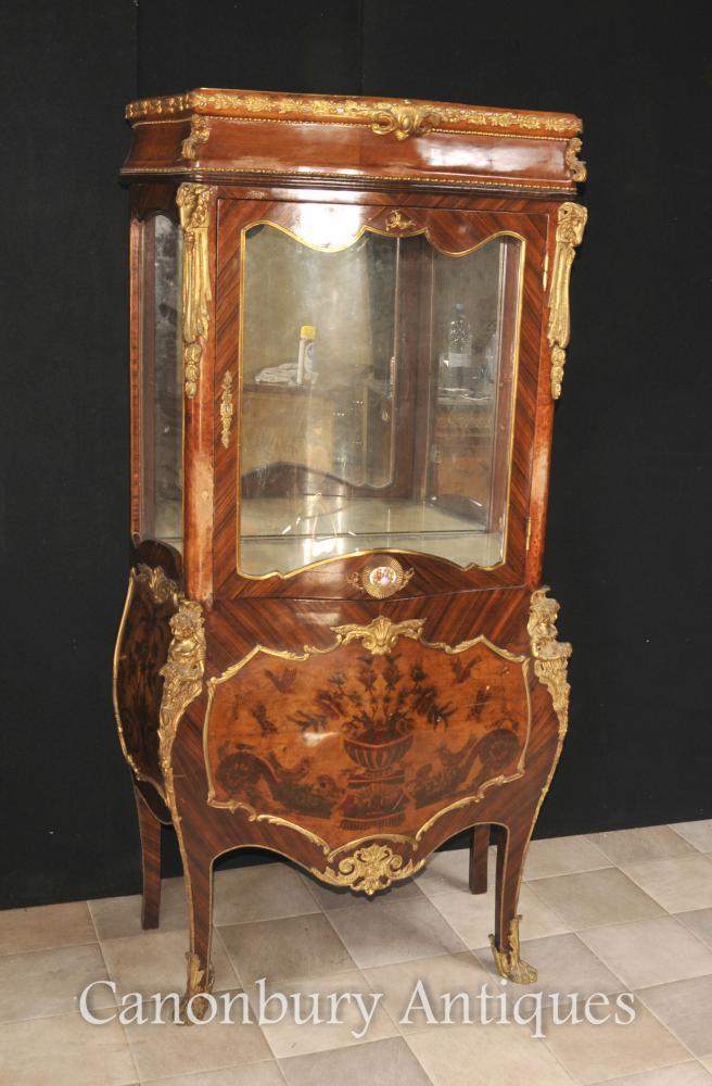 Antike Französisch Reich Glasvitrine Bijouterie Intarsien 1900