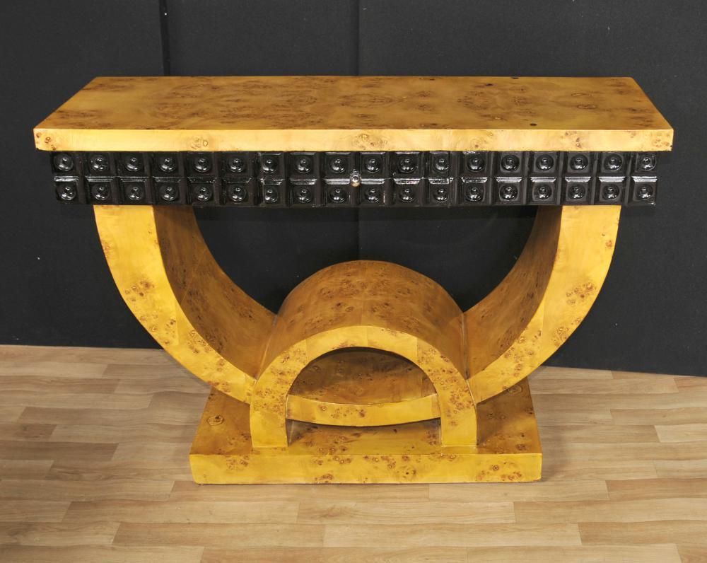 Art Deco Konsolentisch Blonde Walnuss Halle Tische Möbel