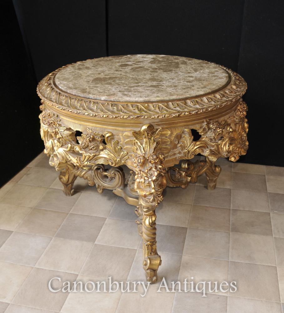 Französisch Louis XVI Gilts-Center Tabelle Marmor-Tische