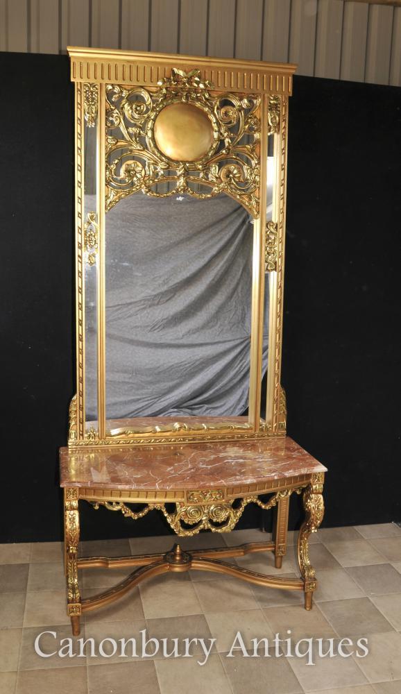 Französisch Reich Gilts Konsolentisch und Spiegel Set Halle Tische