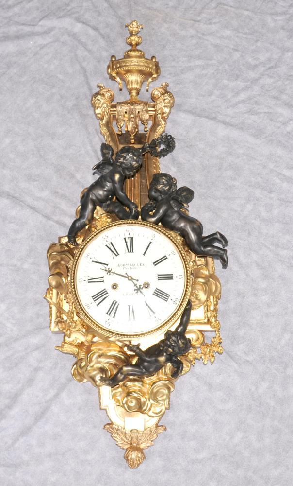 Französisch Reich Ormolu Cherub Wanduhr Cherubs Bronze Uhren