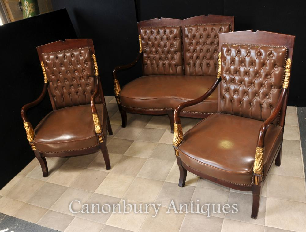 Französisch Reich Sofa Sessel Suite Leder Stühle Couch