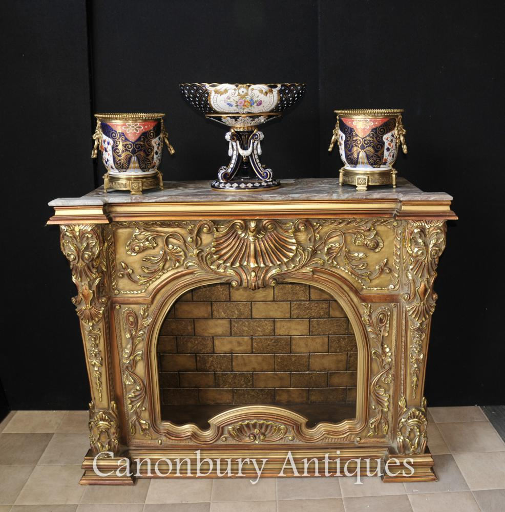 Geschnitzte Französisch Louis XVI Gilts Kaminsims Kamin