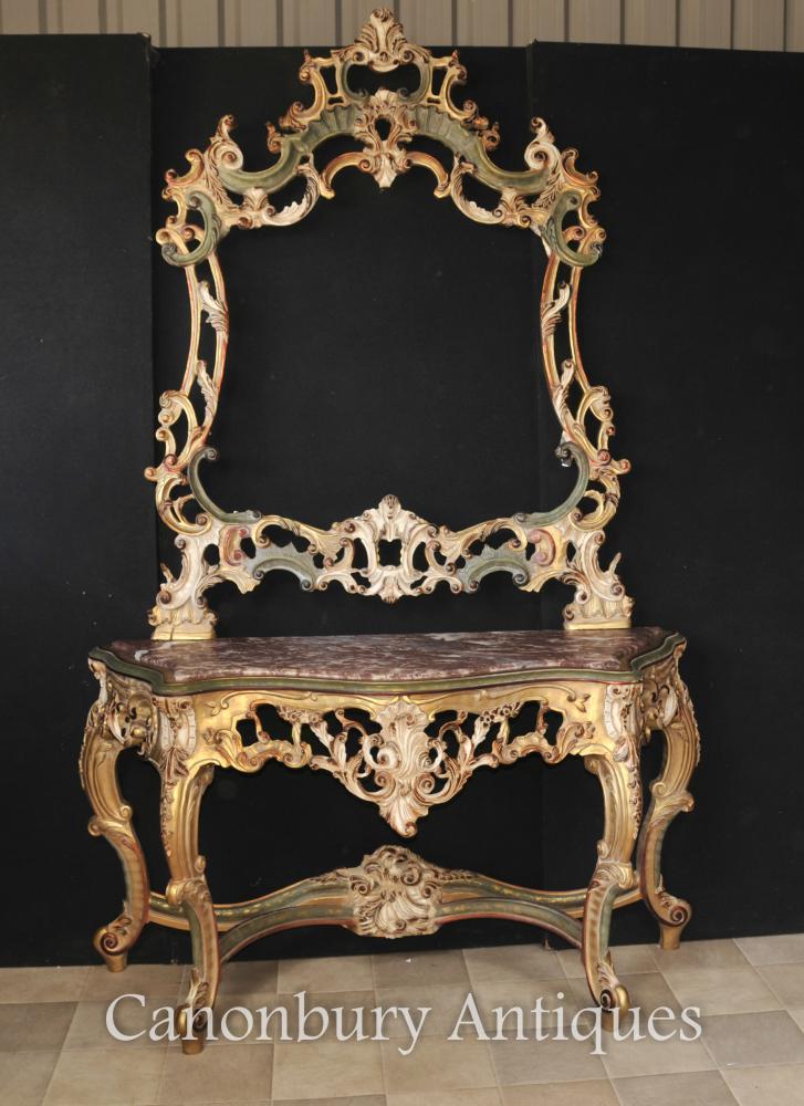 Italienisch Rokoko gemalte Gilts Konsolentisch und Spiegel Set