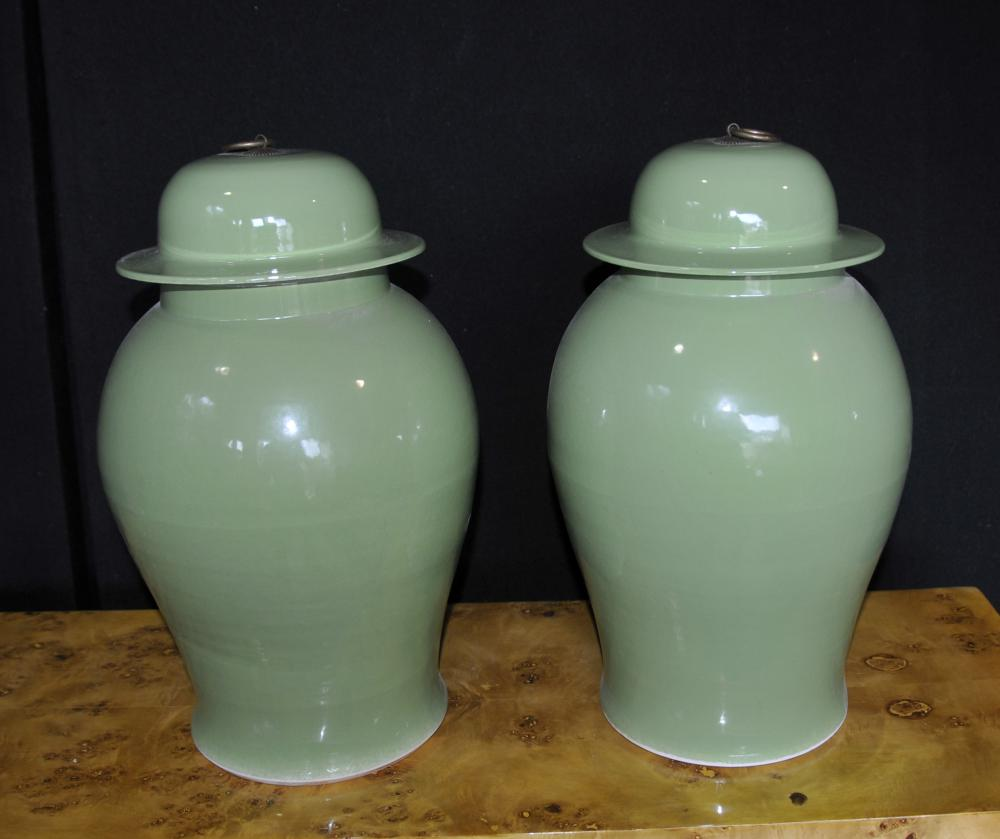 Paar chinesische Porzellan Ingwer-Gläser Urnen Vasen Kangxi
