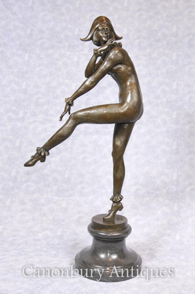 Art Deco Bronze Harlekin-Tänzer Statue Gilbert Gießereisignatur Signed