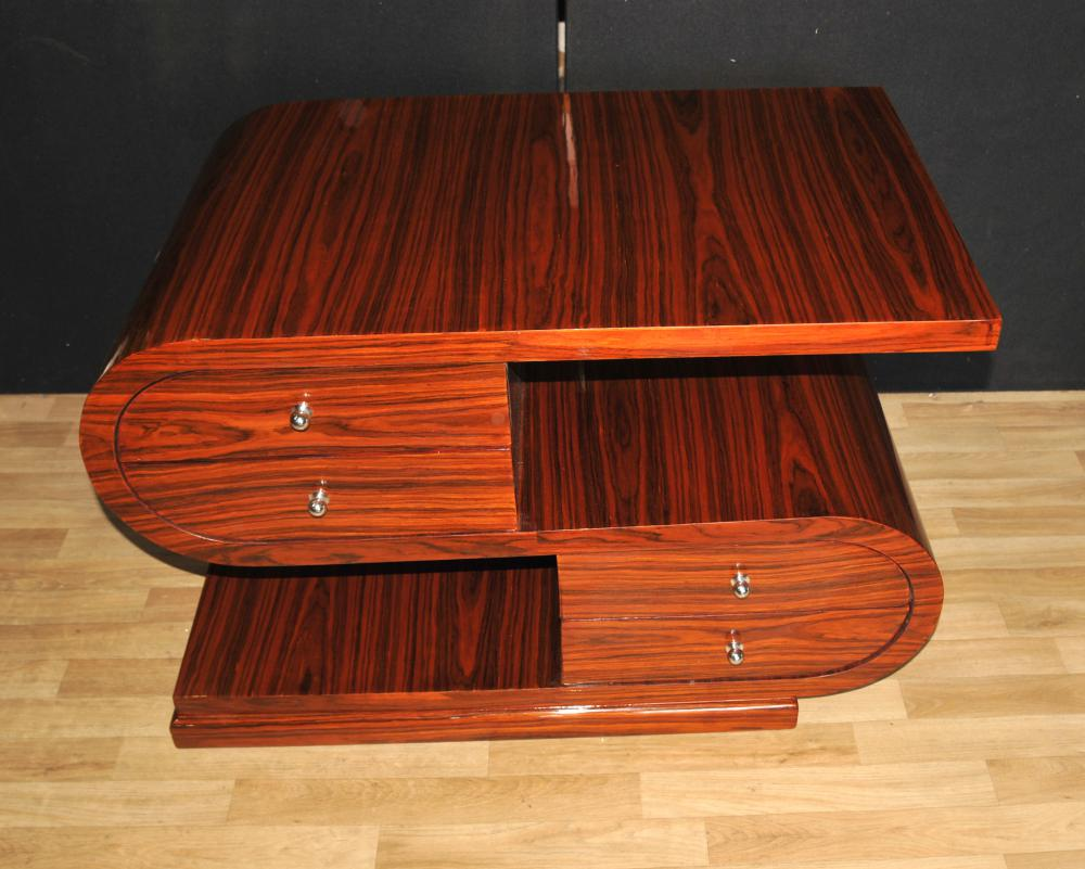 Art-Deco-S-Form-Couchtisch Palisander modernistische Möbel