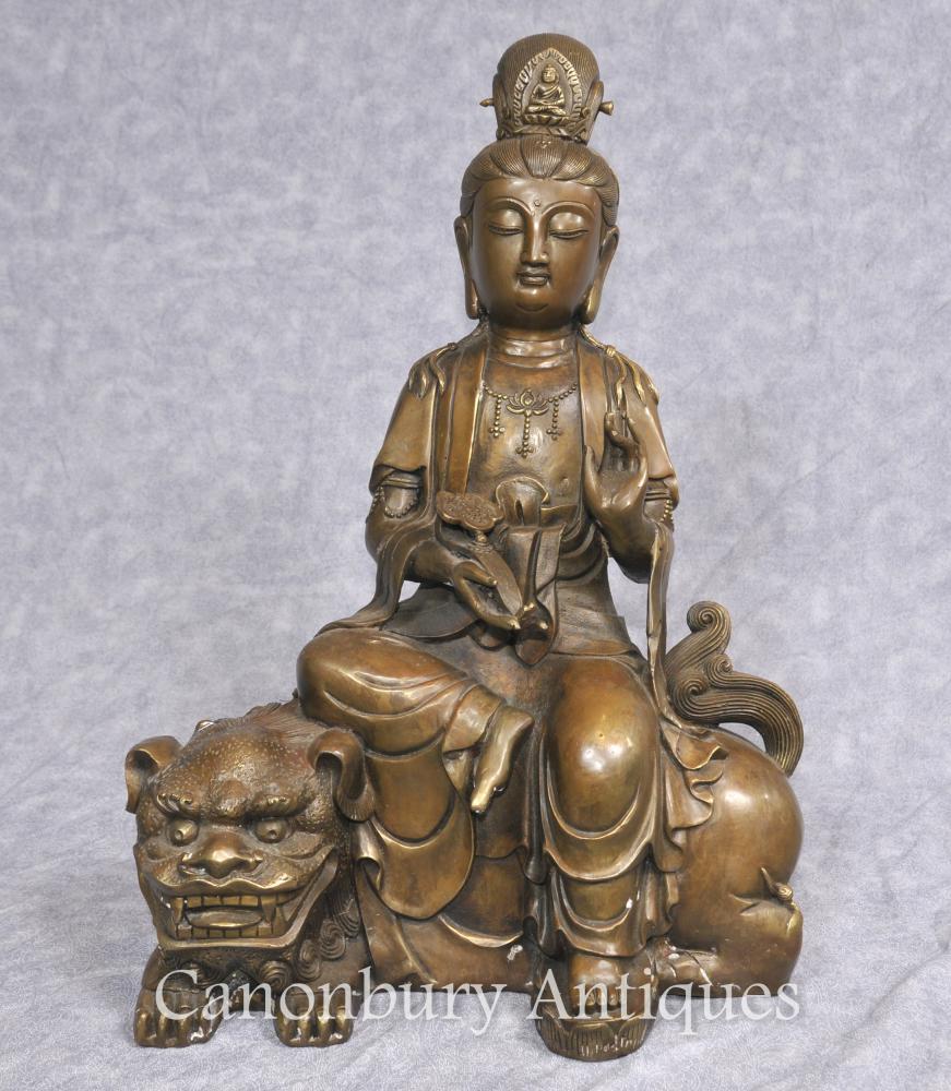 Bronze Tibetan Bronze Statue buddhistischen Fugen Monju Samantabhadra Manjushri