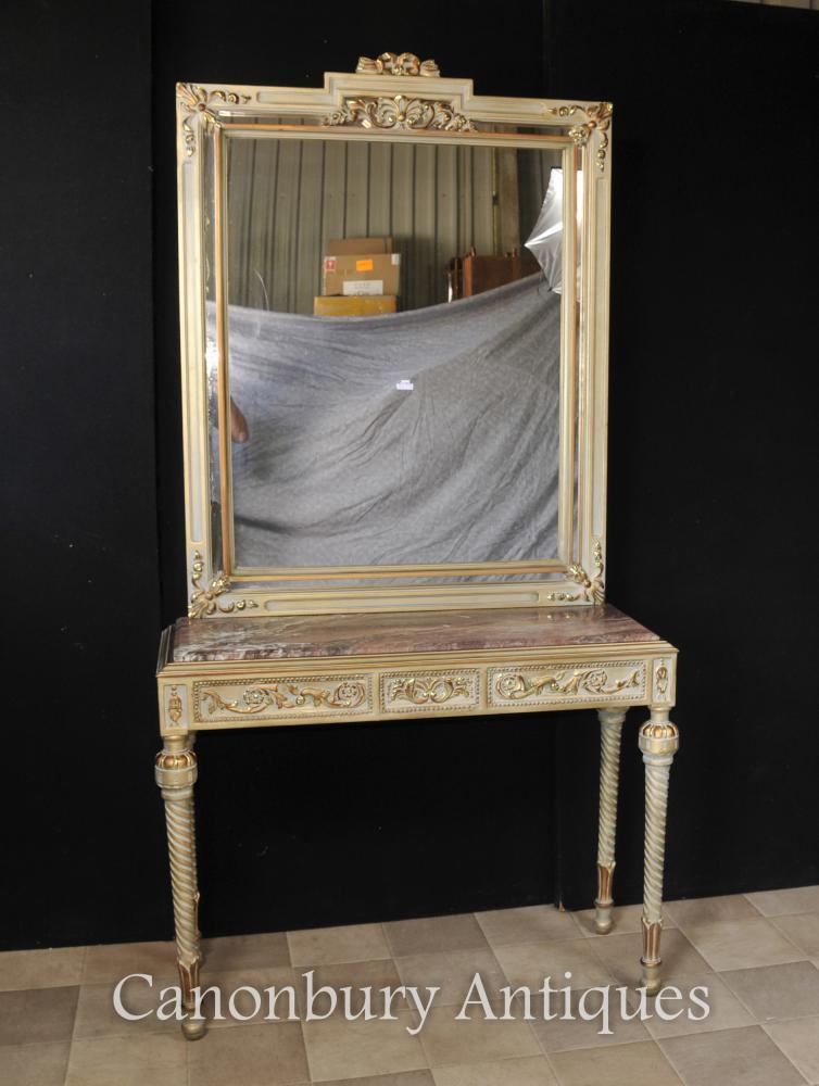 Französisch Reich Painted Konsolentisch und Spiegel Set