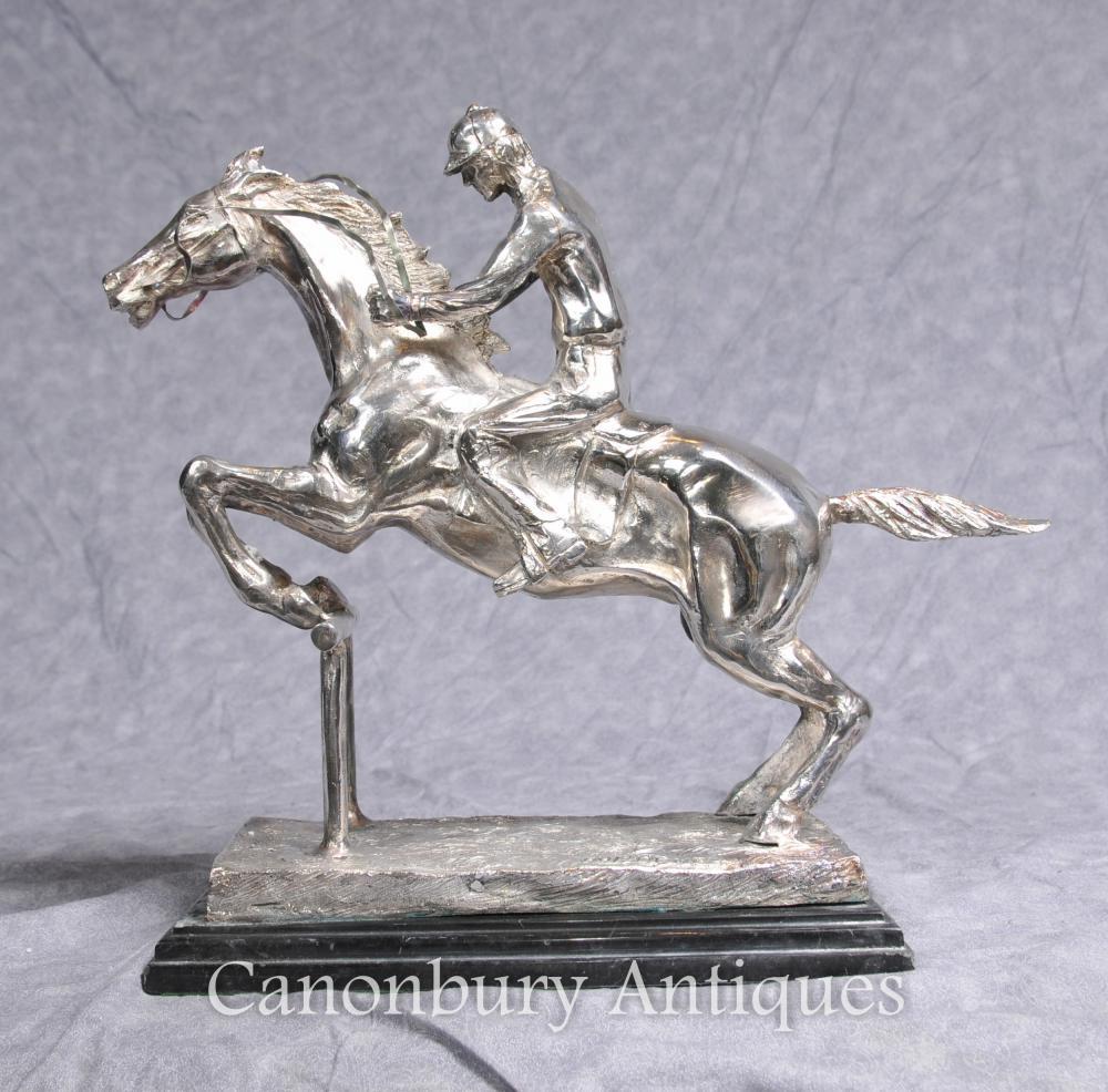 Französisch-Silber überzogene Bronze Hindernis Signed Bonheur Pferd Jockey Jump