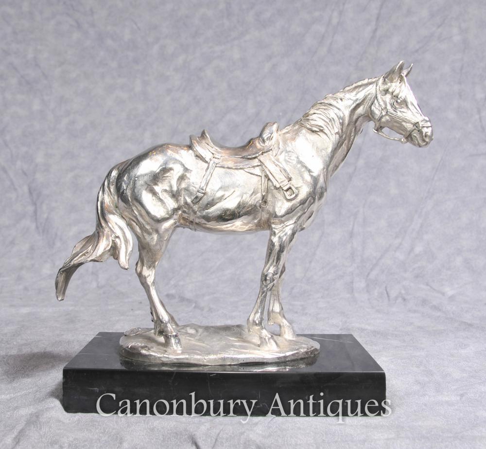 Französisch-Silber überzogene Bronze Horse Statue von Milo Pferde