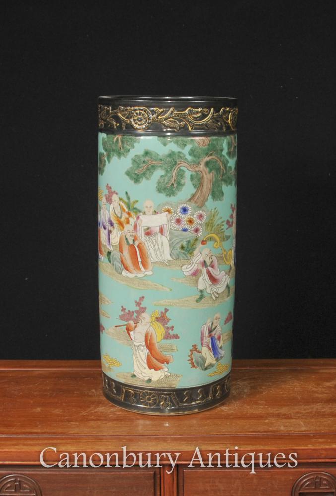 Japanische Familien-Gelb Schirmständer Porzellan Keramik Urne Vase