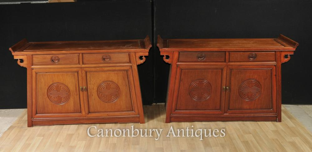 Paar Antike chinesische Mahagoni Anrichten Konsolen Tische Kabinett