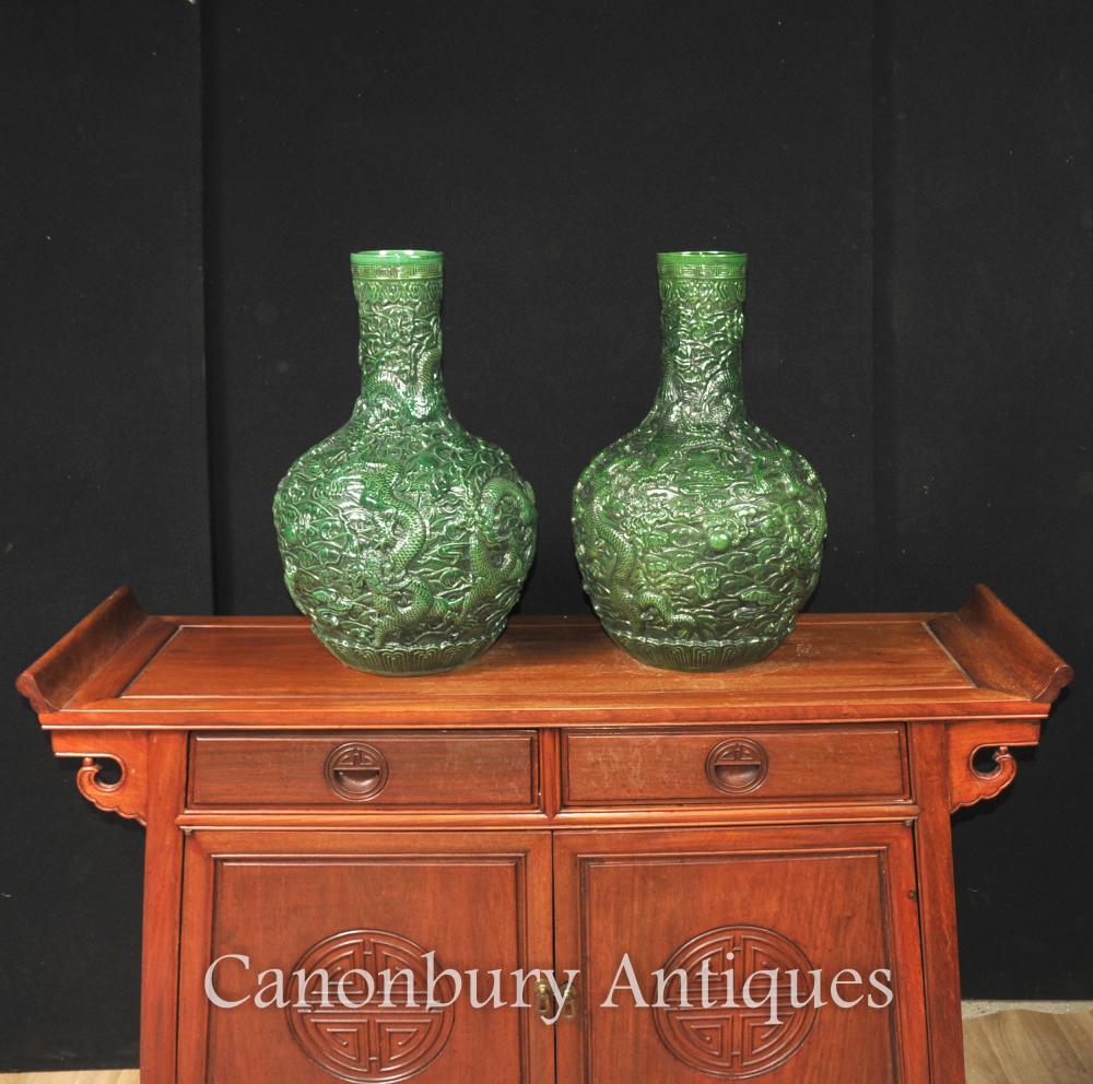 Paar Chinese Green Zinnober Lack Drachen Vasen Urnen Bulbous Urn