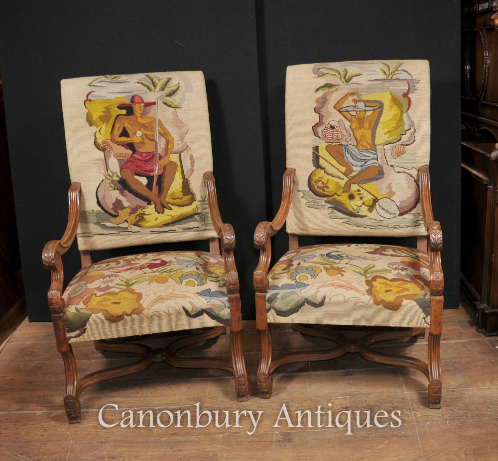 Paar Französisch Antique Oak Sessel Nude Hand gesponnene Polsterung Tropical Nouveau