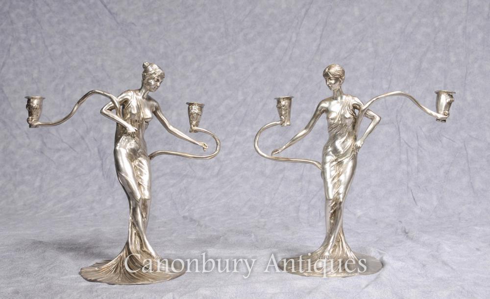 Paar Französisch Jugendstil Silber plattiert weiblich Kerzenleuchter Kerzen, Figuren
