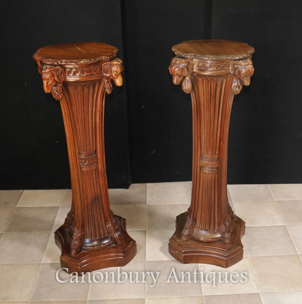 Paar Französisch Regency Tischfuß Tischständer Säule Rams Heads