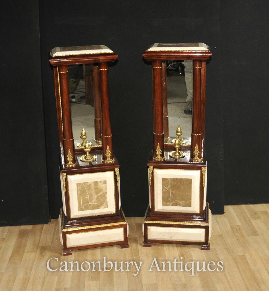 Paar Französisch Reich Marmorsockel Säulenständer Tische Gespiegelte