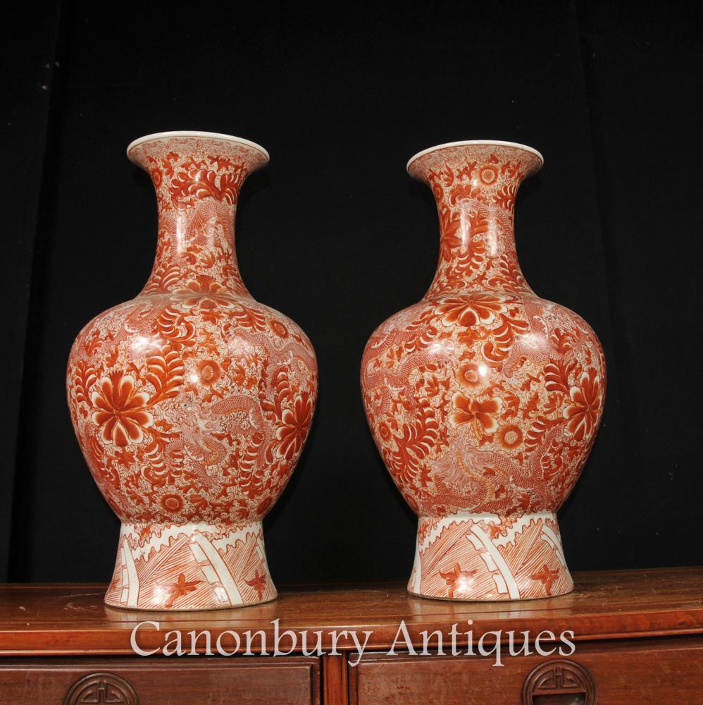 Paar Imperial Red chinesischen Zinnober Porzellan Blumenvasen Urnen