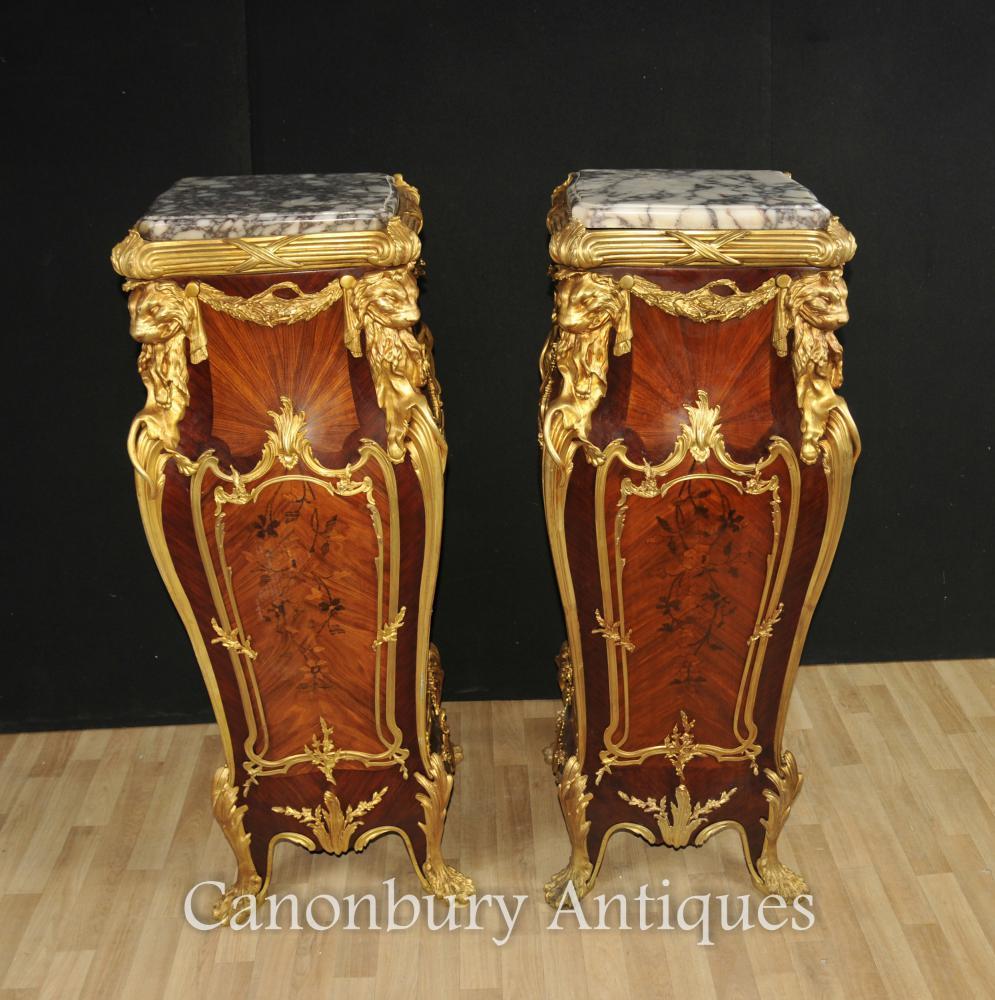 Paar Louis XVI Kingwood Gilts Säulentisch Ständer Linke