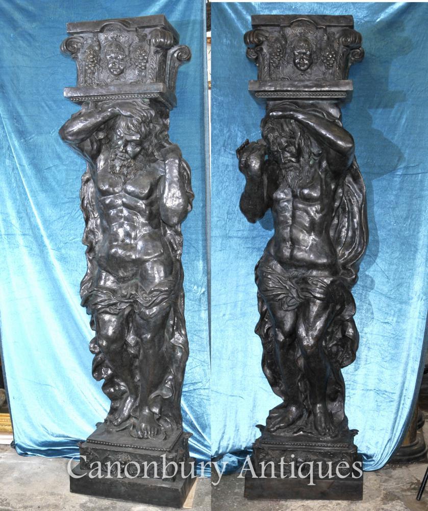 Pair 8 ft Bronze Atlas Männliche Figur Statuen Architectural Klassik