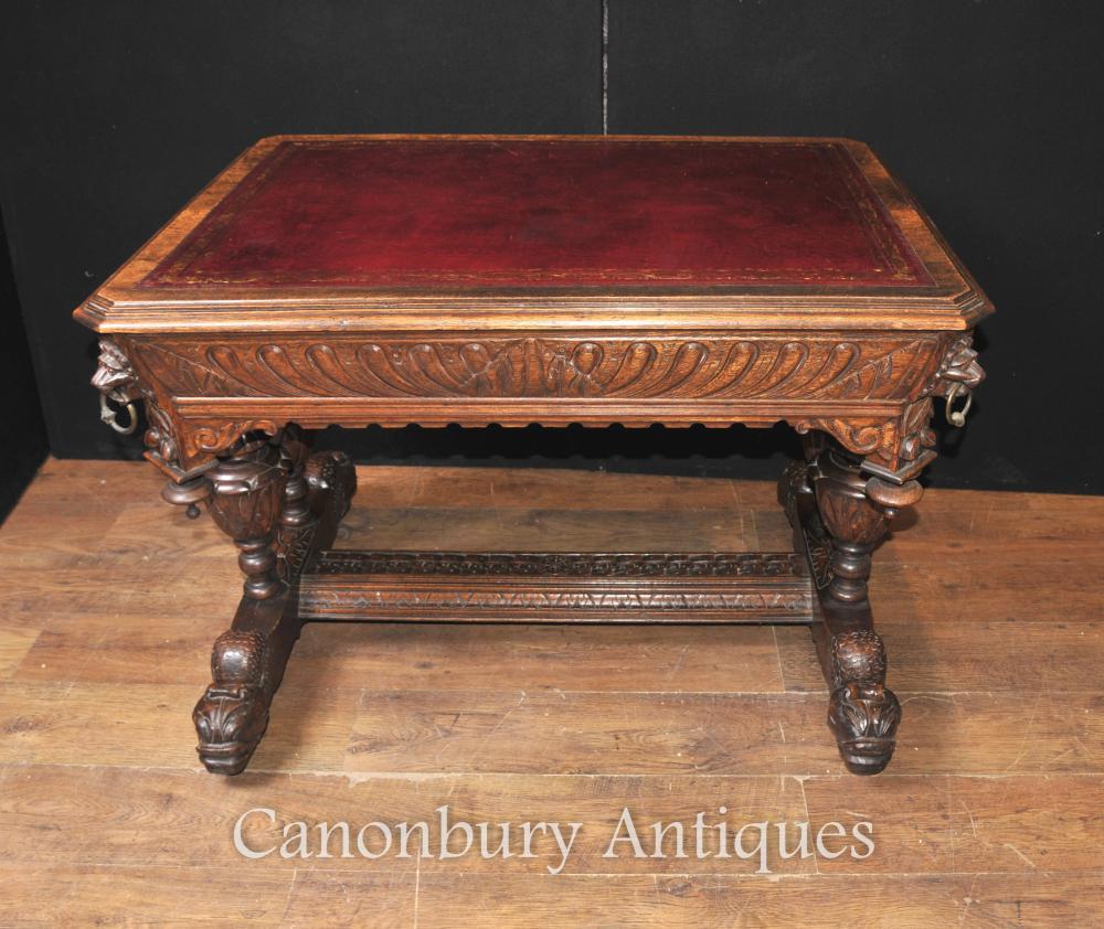 19. Antike Jahrhundert geschnitzt Eiche Bibliothek Tisch Schreibtisch Schreibtisch
