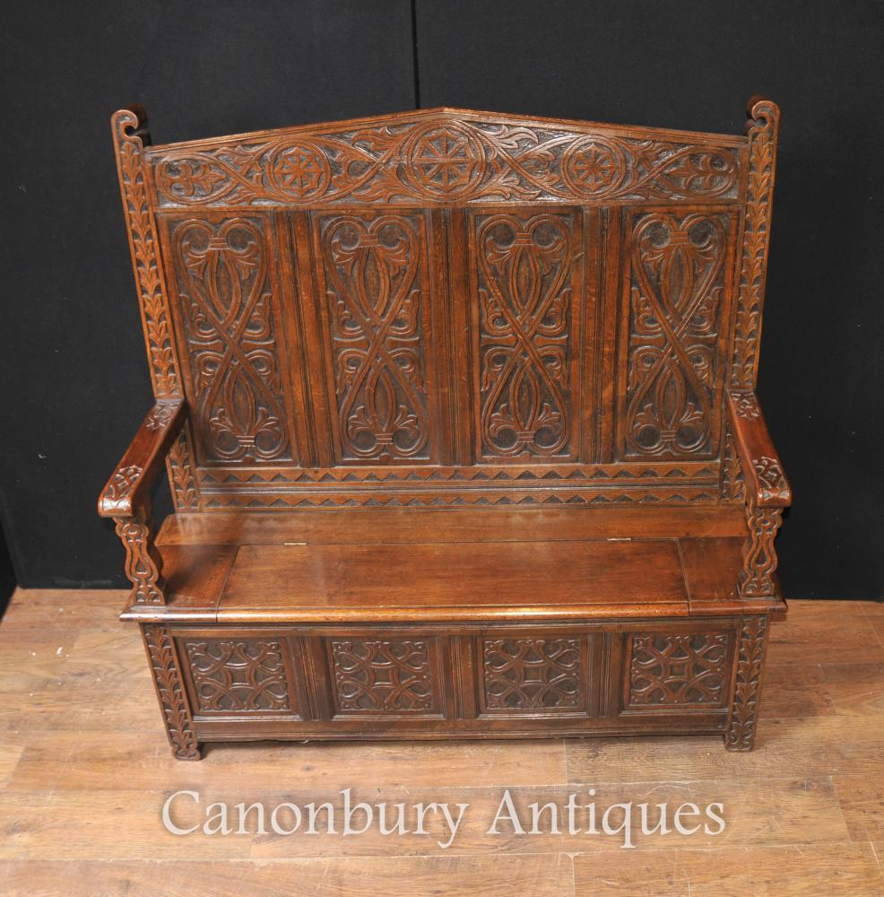 Antike 19. Jahrhundert keltische Mönche Bank Settle Sitz Eiche geschnitzt