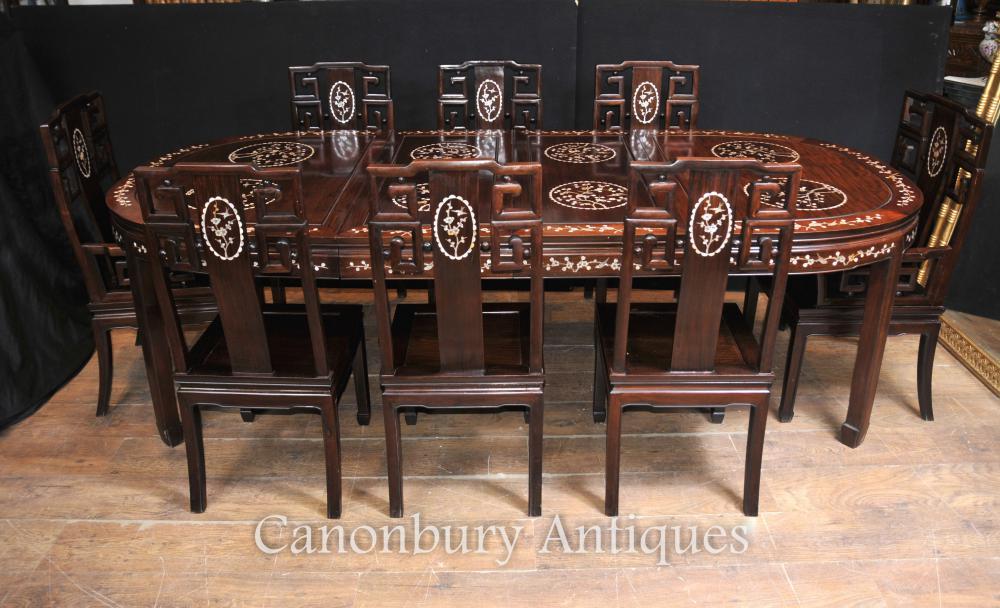 Antike chinesische Holz Dining Set Tisch und 8 Stühle Perlmutt Inlay 1920