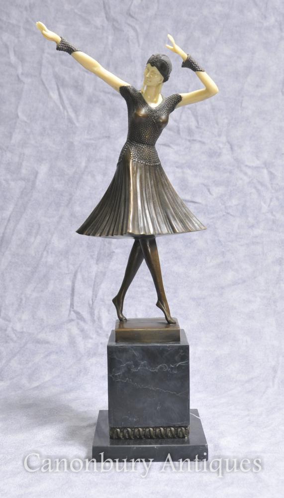 Art Deco Bronze Chiparus Figur Weibliche Tänzerin Flapper