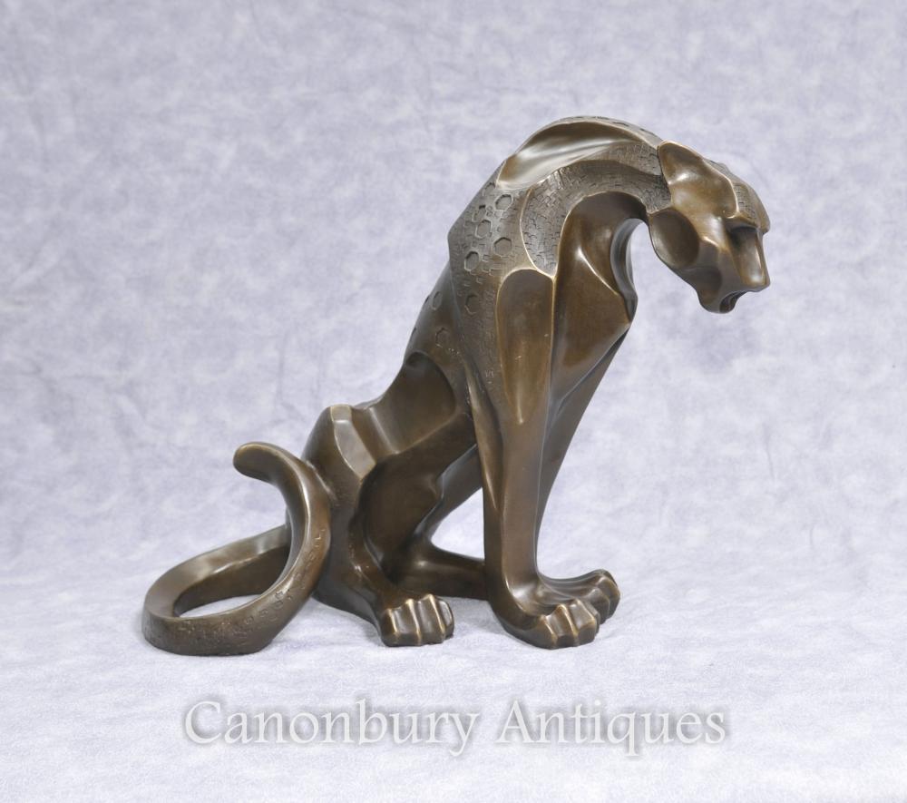 Art Deco Bronze Puma Katze Statue Katzenartige Skulpturen