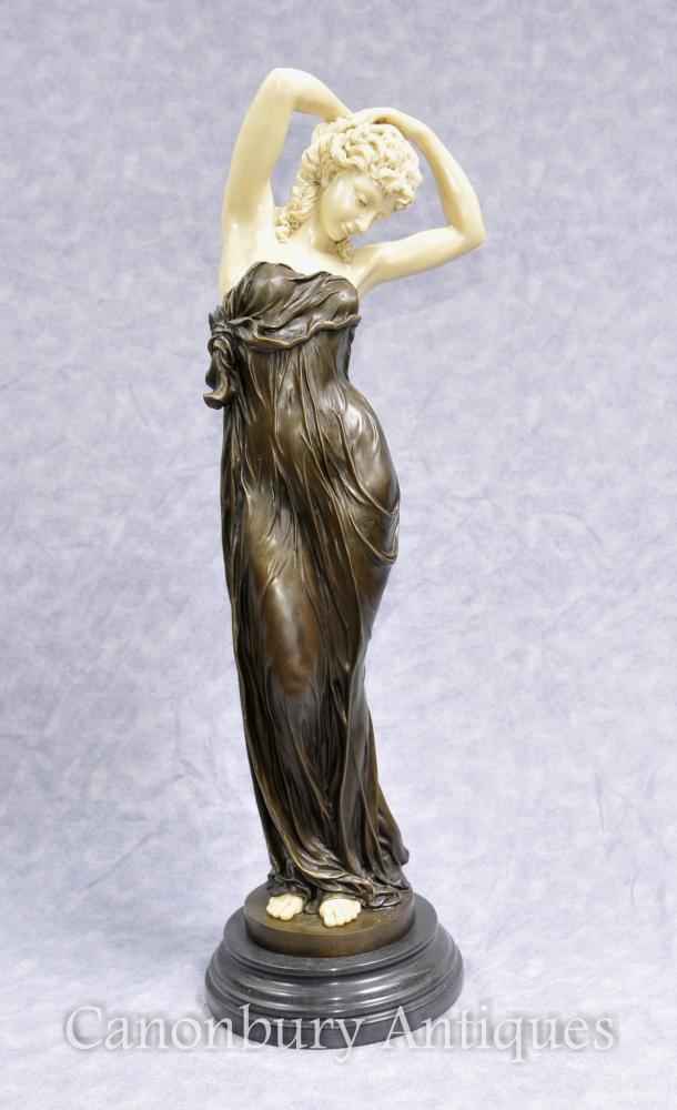 Art Deco Bronze Seductive Frau Figur Statue Von Gory