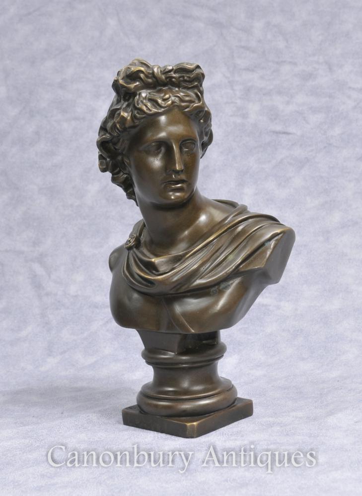 Bronze Büste Griechischer Gott Apollo Klassische Kunst Olympische Gottheiten