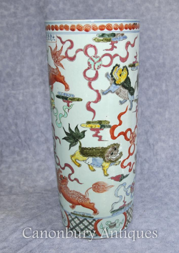 Chinesische Porzellan Qianlong Dragon Umbrella Stand Urn Vase