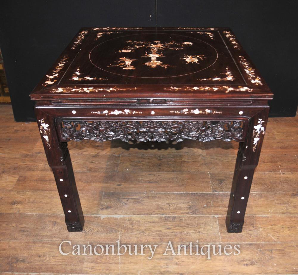 Chinesische antike Holztisch und Hocker Dining Set Perlmutt Inlay