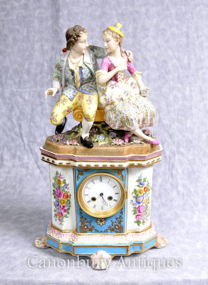 Deutsches Porzellan Dresden Figurinenmantel Uhr