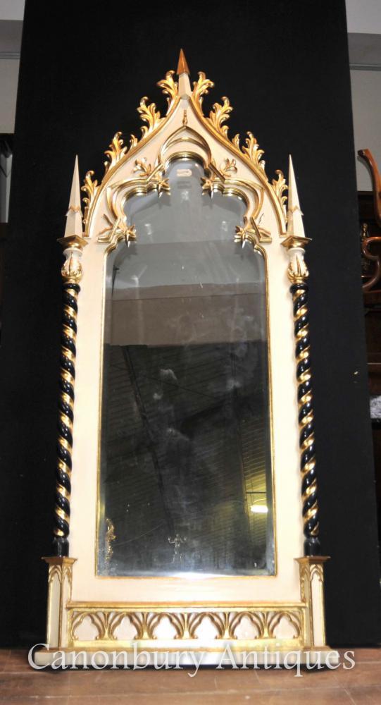Englisch Geschnitzte Gothic Pier Spiegel Painted Holz geschnitzt
