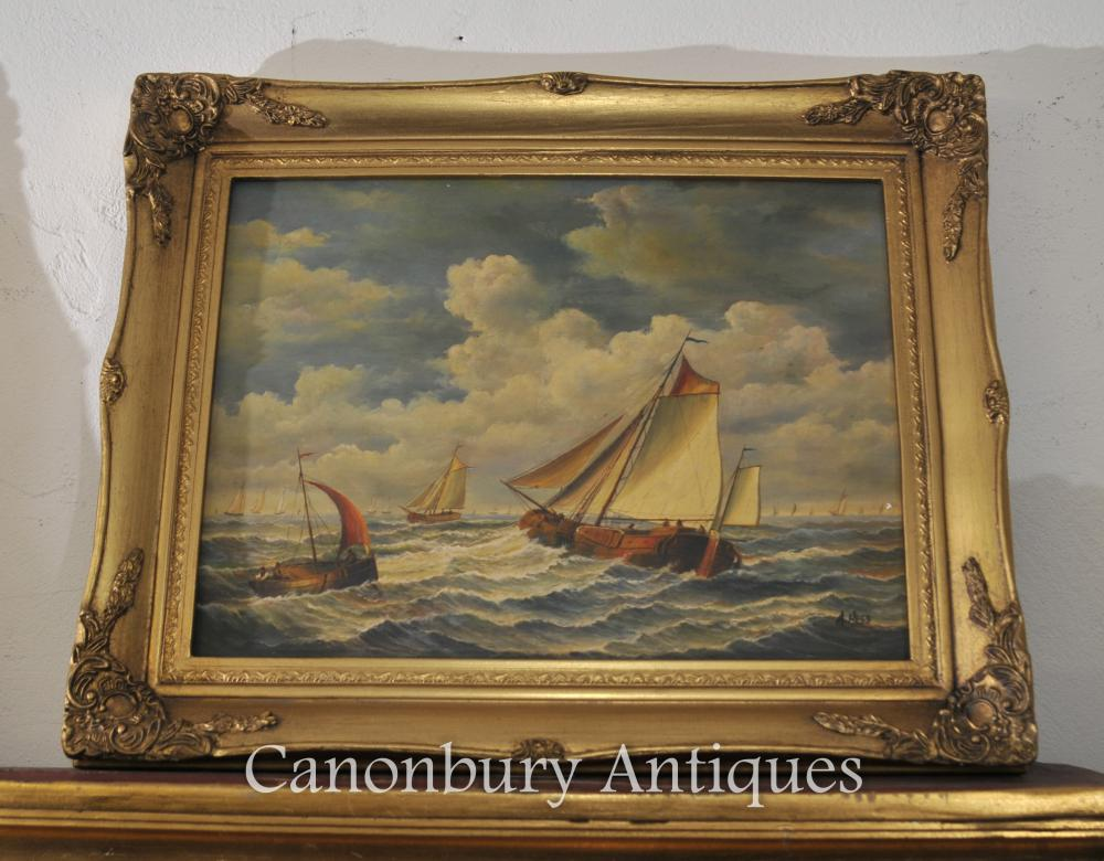 Englisch Victorian Dorset Schiff Malerei Maritime Marine unterzeichnete einen Hess
