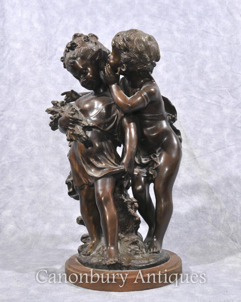 Französisch Bronze Cherub und Mädchen Statue Unterzeichnung Moreau