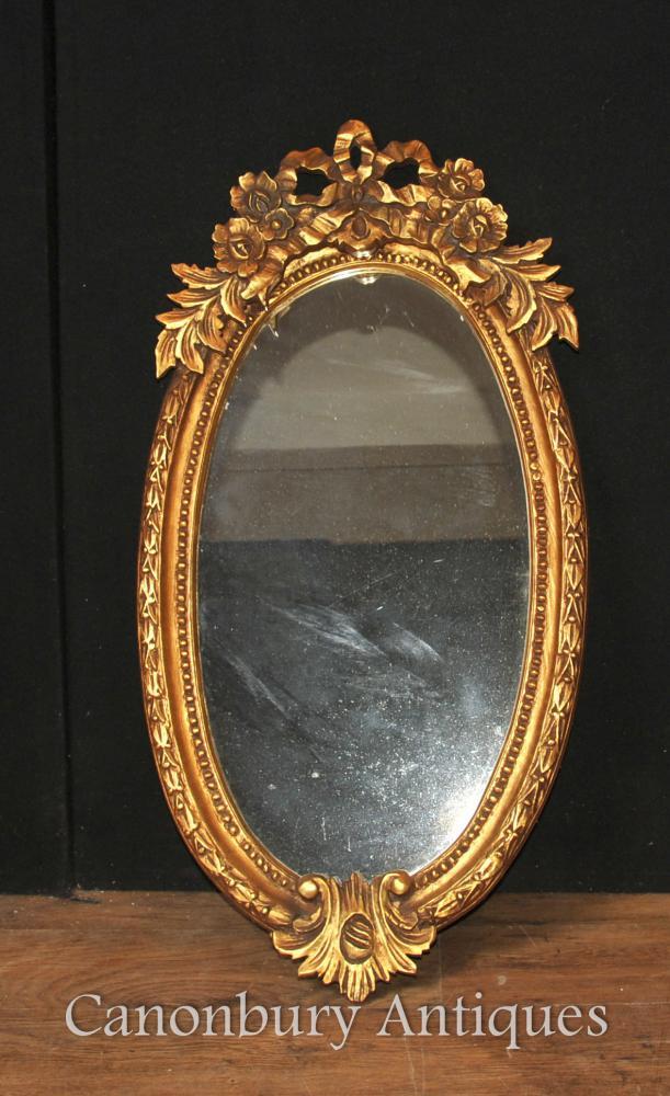 Französisch Louis XVI Gilts Oval Spiegelglas