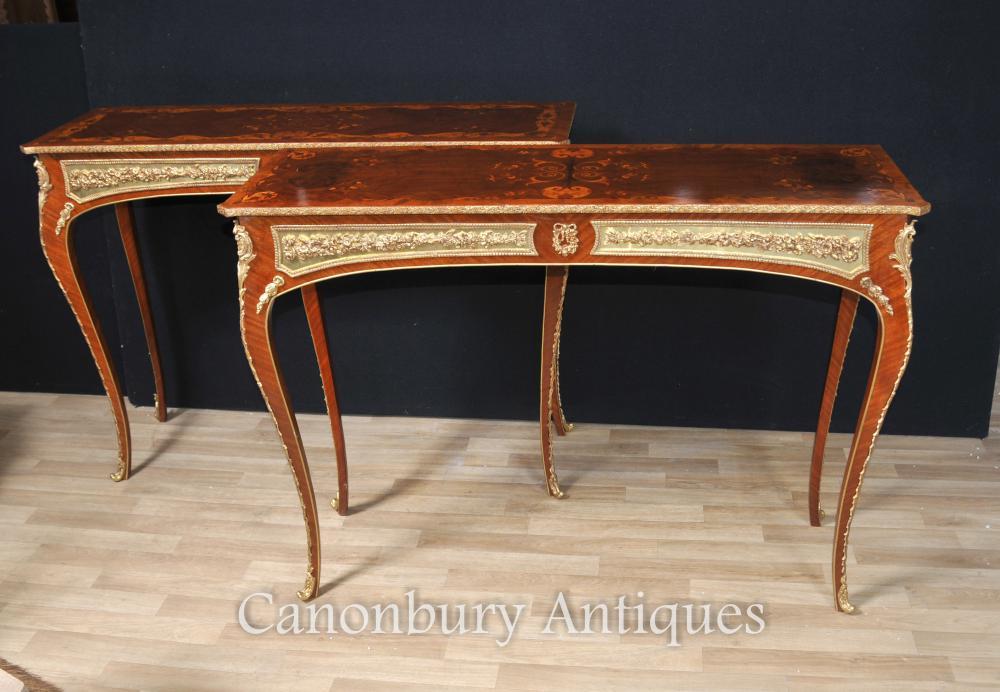 Französisch Louis XVI Konsole Tische Inlay und vergoldeter Mounts Möbel