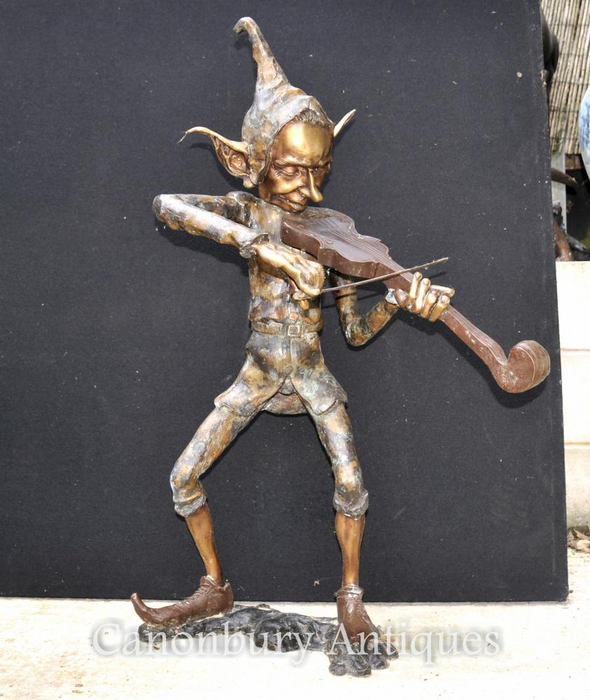 Große Bronze Pixie Violinen-Spieler Statue Pixies Elf Skulptur