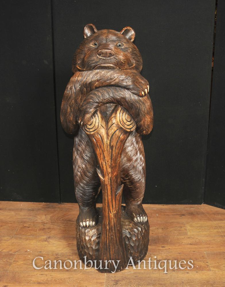 Große Hand geschnitzte Schwarzwald Deutsche Bären-Statue-Skulptur